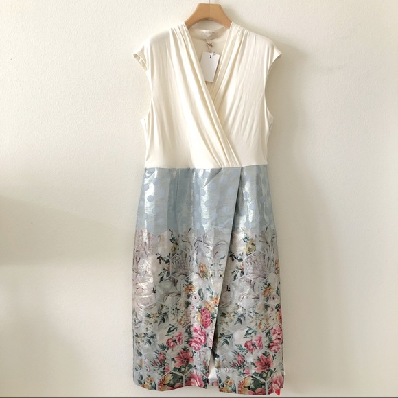 Ted Baker London Dresses & Skirts - Ted Baker Faux Wrap Blue/Ivory Dress